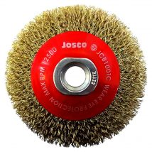 Josco 100mm Brass Coated Tyre Cord Steel Crimped Bevel Brush