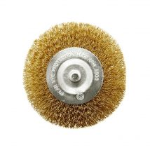 Tomcat 100mm Brass Coated HD Steel Spindle-Mounted Wheel Brush
