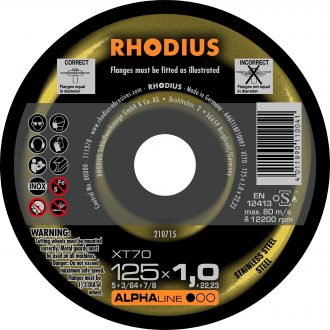 Rhodius 125mm Cutting Disc XT70