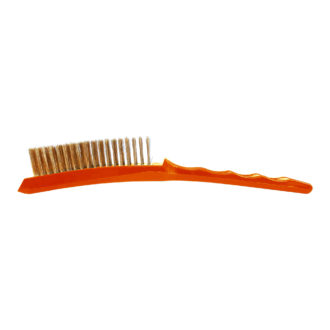 Picture of the Josco Long Plastic Handle Hand Brush with Brass Wire, the handle is orange